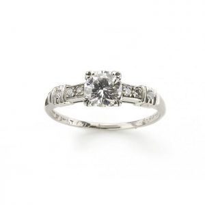 Vintage 0.61ct Diamond Engagement Ring in Platinum, with Certificate