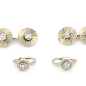Antique Bvlgari Old Cut Diamond and 18ct Yellow Gold Cufflink and Collar Clip Set, 1.30 carats, in original box. Made in Italy, Circa 1900