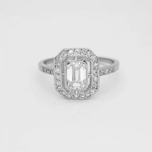 Emerald Cut Diamond Cluster Ring in 18ct White Gold, 1.00 carat total