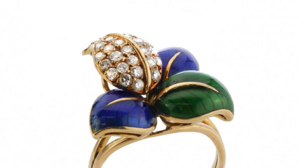 Faraone Blue and Green Enamel and Diamond set Stylised Leaf Ring and Earring Suite, in 18ct Yellow Gold, with original box