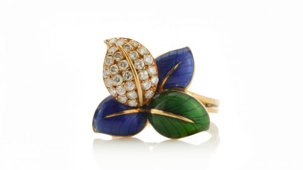 Faraone Blue and Green Enamel and Diamond set Stylised Leaf Ring and Earring Suite, 2.52 carats, in 18ct Yellow Gold, with original box