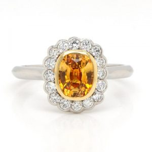 Cushion Cut Orange Sapphire and Diamond Cluster Ring, 1.29 carats