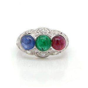 Cabochon Emerald, Ruby and Sapphire Ring, Edwardian Diamond Mount