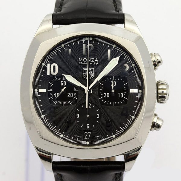 Tag Heuer Monza 38mm Steel Automatic Chronograph; Ref. CR5110, black dial with Arabic numerals, calibre 36 movement visible through the display back, on a TAG Heuer black leather strap with stainless steel push-button deployment buckle.