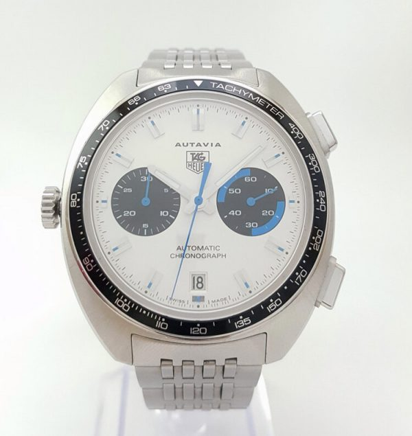 Tag Heuer Autavia Re Edition 42mm Stainless Steel Automatic Chronograph with White Dial; model number CY2110, on a stainless steel bracelet, Circa 2000s. Comes with TAG Heuer box