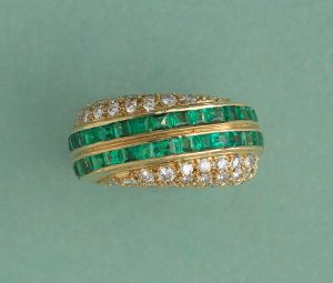 Vintage Emerald and Diamond Asymmetric Band Ring, 1.92 carats