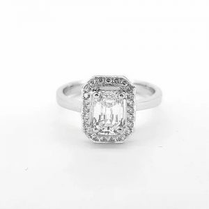 0.87ct Emerald Cut Diamond Cluster Ring in 18ct White Gold