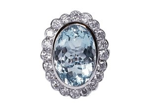 Aquamarine and Diamond Oval Cluster Ring in 18ct White Gold