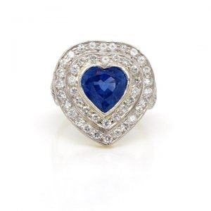 Vintage Heart Cut Sapphire and Diamond Cluster Ring, 3.31 carats