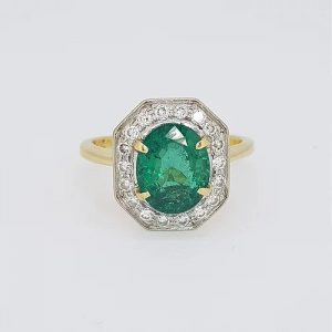 Natural Colombian Emerald and Diamond Cluster Ring, 2.50 carats