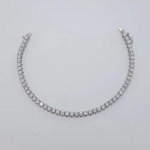 Diamond Line Bracelet in 18ct White Gold, 6.22 carats