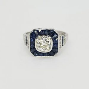Sapphire and Diamond Calibre Cluster Target Ring, 1.20 carats