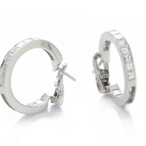 Bvlgari Princess Cut Diamond Hoop Earrings; channel set with square cut diamonds, 1.80 carat total, in 18ct white gold