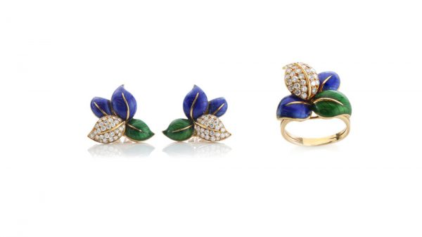 Faraone Blue and Green Enamel, Diamond and 18ct Yellow Gold Ring and Earring Suite; designed as stylised leaves decorated with blue and green enamel, accented with 2.52cts brilliant cut diamonds. Comes in original box