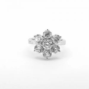 Diamond Flower Cluster Ring in 18ct White Gold, 2.92 carats