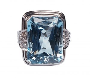 Art Deco Aquamarine and Diamond Dress Ring, 14.80 carats