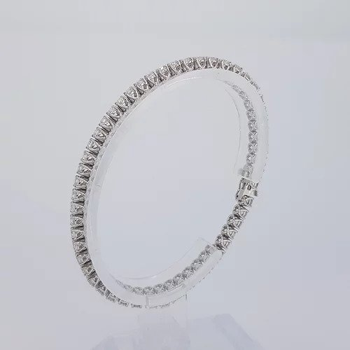 Diamond Line Bracelet in 18ct White Gold; featuring 6.22 carats of round brilliant-cut diamonds, each claw-set and mounted in 18ct white gold