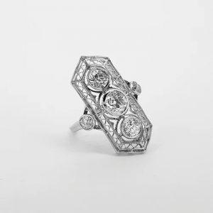 Belle Epoque Three Stone Diamond Plaque Ring in Platinum, 1.50 carats