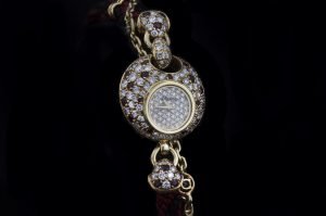 DaLaneau 18ct Gold Ladies Bracelet Watch with Diamonds and Rubies