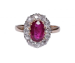 Antique Victorian Ruby and Diamond Oval Cluster Ring, 1.15 carats