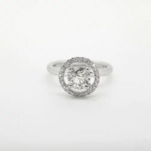 1.30ct Diamond Halo Cluster Ring in 18ct White Gold