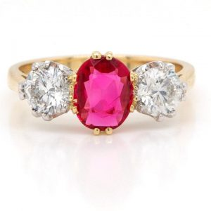 Red Spinel and Diamond Three Stone Ring in 18ct Yellow Gold