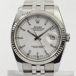 Rolex Datejust 116234 Stainless Steel Automatic Watch, White Gold Bezel