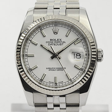 Rolex Datejust 116234 Stainless Steel Automatic Watch with White Gold Bezel; 36mm steel case with white dial, roulette date, screwdown crown and sapphire crystal, on a stainless steel Jubilee bracelet with Crownclasp, Circa 2006-07
