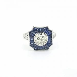 Contemporary Diamond and Sapphire Cluster Target Ring, 1.01 carats