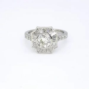 Old Cut Diamond Cluster Target Ring in 18ct White Gold, 0.69 carats