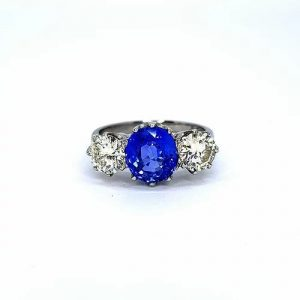 Sapphire and Diamond Three Stone Ring in Platinum, 2.60 carats