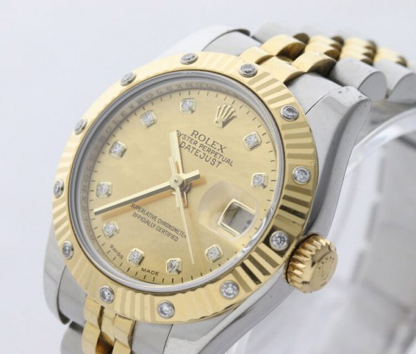 Rolex Lady Datejust Steel and Gold 179313 Automatic Watch with Rolex Factory Gold Dust Diamond Dial and Bezel, with Rolex box
