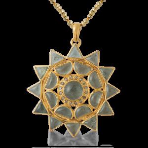 Lakshmi Aquamarine Diamond Pendant