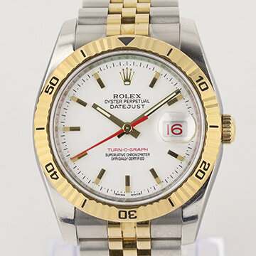 Rolex Datejust Turn-O-Graph 116263 Steel and Gold 36mm Automatic Watch; rotating bezel, white dial, date indicator and sapphire crystal, on a jubilee bracelet in steel and gold with Crown clasp, Circa 2005-06, with Rolex box and papers