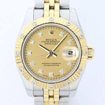 Rolex Lady Datejust Steel and Gold 179313 Automatic Watch with Rolex Factory Gold Dust Diamond Dial and Bezel, factory set diamond hour markers, original yellow gold bezel with diamonds, date indicator, sapphire crystal and screw-down crown, on a steel and gold Jubilee bracelet with Crownclasp, comes with Rolex box