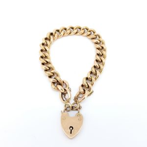 Vintage 9ct Yellow Gold Curb Bracelet with Heart Clasp