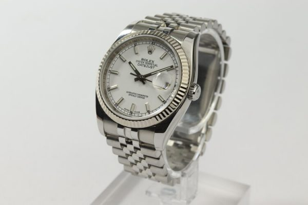 Rolex Datejust 116234 Stainless Steel Automatic Watch with White Gold Bezel; 36mm steel case with white dial, on a stainless steel Jubilee bracelet with Crownclasp, Circa 2006-07