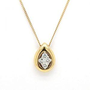 0.30ct Diamond and 18ct Yellow Gold Drop Shaped Pendant
