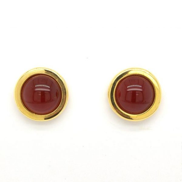 Vintage Cabochon Cornelian and 18ct Yellow Gold Stud Earrings; pair of 18ct yellow gold and cabochon cornelian earrings, post and butterfly fittings