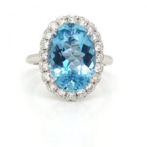 Aquamarine and Diamond Oval Cluster Ring in Platinum, 5.33 carats