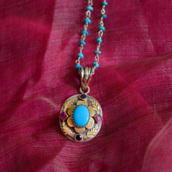 Ishana Turquoise Ruby Sapphire Pendant