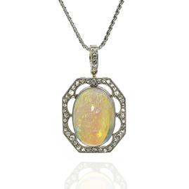 Antique Edwardian Opal and Diamond Cluster Pendant