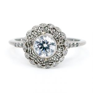 Art Deco Style 0.61ct Old European Cut Diamond Ring