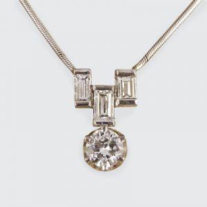 Art Deco Style 1ct Diamond Drop Pendant Necklace