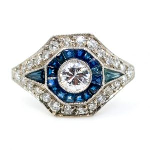 Art Deco Style Diamond and Sapphire Target Cluster Ring