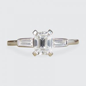 Art Deco Style Emerald Cut Diamond Ring with Baguette Cut Shoulders