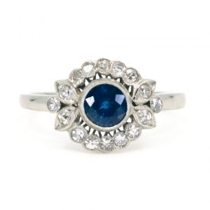 Art Deco Style Sapphire and Diamond Cluster Platinum Ring