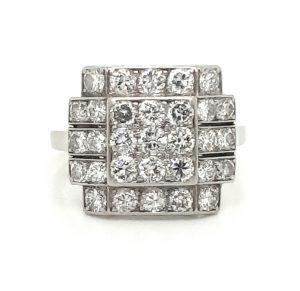 Antique Art Deco Diamond Square Cluster Platinum Ring