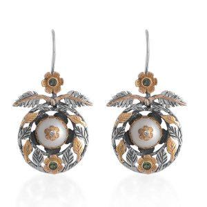 Oriana Pearl Diamond Tsavorite Earrings