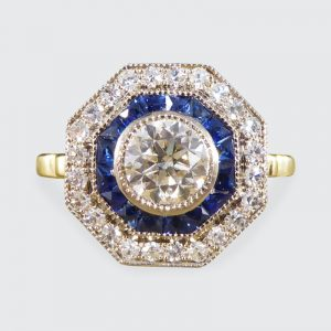 Contemporary 0.70ct Diamond and Sapphire Target Ring